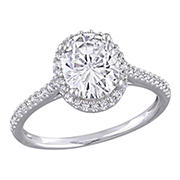 2 ct. DEW Created Moissanite and .25 ct. t.w. Diamond Halo Engagement Ring in 14k White Gold - Size 9