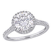 2 ct. DEW Created Moissanite and .25 ct. t.w. Diamond Halo Engagement Ring in 14k White Gold - Size 6