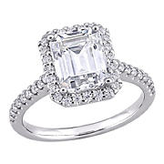 2.875 ct. DEW Created Moissanite Emerald Cut Halo Engagement Ring in 10k White Gold - Size 7