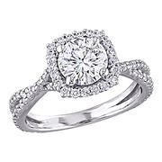 1.5 ct. DEW Created Moissanite Square Halo Crossover Engagement Ring in 10k White Gold - Size 5