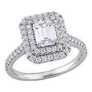 1.625 ct. DEW Created Moissanite Halo Engagement Ring in 10k White Gold - Size 9
