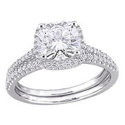 2 ct. DEW Created Moissanite and .33 ct. t.w. Diamond Bridal Set in 14k White Gold - Size 5