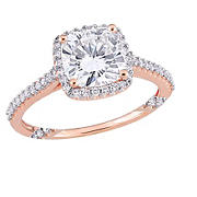 2 ct. DEW Created Moissanite and  .33 ct. t.w. Diamond Bridal Ring Set in 14k Rose Gold - Size 5