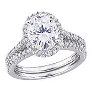 2 ct. DEW Created Moissanite and .33 ct. t.w. Diamond Oval Bridal Set in 14k White Gold - Size 5