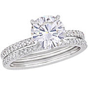 2 ct. DEW Created Moissanite and .25 ct. t.w. Diamond Bridal Set in 14k White Gold - Size 5
