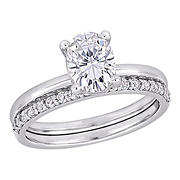3.375 ct. t.g.w. Created White Sapphire Oval Bridal Ring Set in 10k White Gold - Size 8
