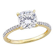2 ct. DEW Created Moissanite and .1 ct. t.w. Diamond Engagement Ring in 14k Yellow Gold - Size 5