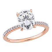 2 ct. DEW Created Moissanite and .1 ct. t.w. Diamond Oval Engagement Ring in 14k Rose Gold - Size 6