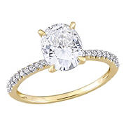 2 ct. DEW Created Moissanite and .1 ct. t.w. Diamond Oval Engagement Ring in 14k Yellow Gold - Size 6