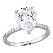 3.5 ct. DEW Created Moissanite Pear Shape Engagement Ring in 10k White Gold - Size 9
