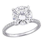 4 ct. DEW Created Moissanite Engagement Ring in 10k White Gold - Size 8