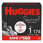 Huggies Special Delivery Hypoallergenic Baby Diapers, Size 1, 174 Ct