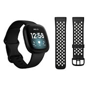 Fitbit Versa 3 Smartwatch Bundle with Small and Large Bands and Bonus Large Accessory Band - Black