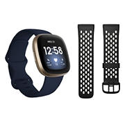 Fitbit Versa 3 Smartwatch Bundle with Small and Large Bands and Bonus Large Accessory Band - Midnight