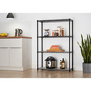 Trinity 4-Tier Wire Shelving, NSF, with Liners - Black