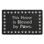 """Home Dynamix Mia Blessed by Paws 18"""" x 48"""" Outdoor Door Mat - Charcoal/Black/White"""