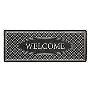 "Home Dynamix Mia Welcome Trellis 18"" x 48"" Outdoor Door Mat - Charcoal/Black/White"