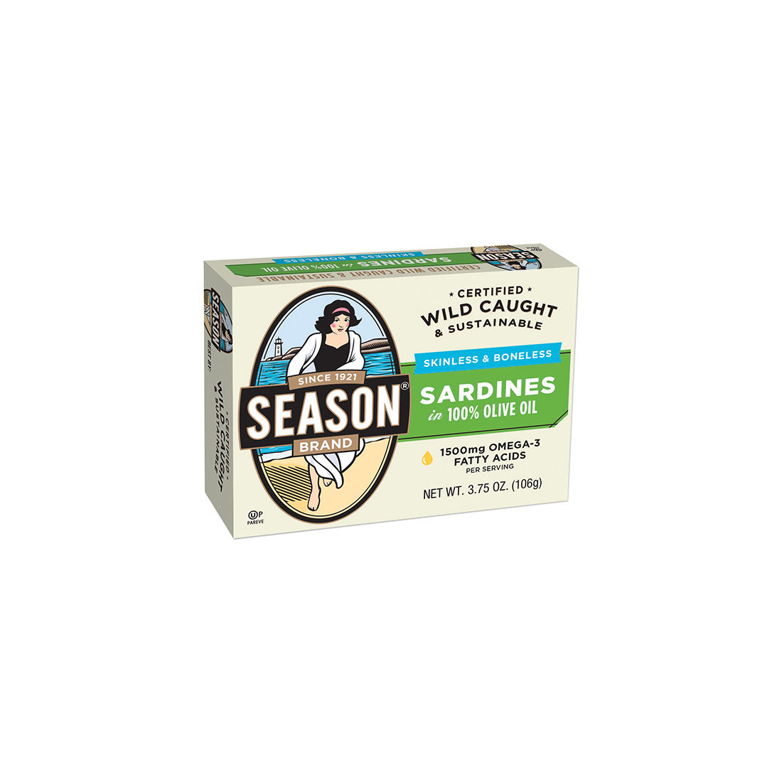 Season Brand Skinless and Boneless Imported Sardines in Olive Oil, 5  pk /3 7 oz