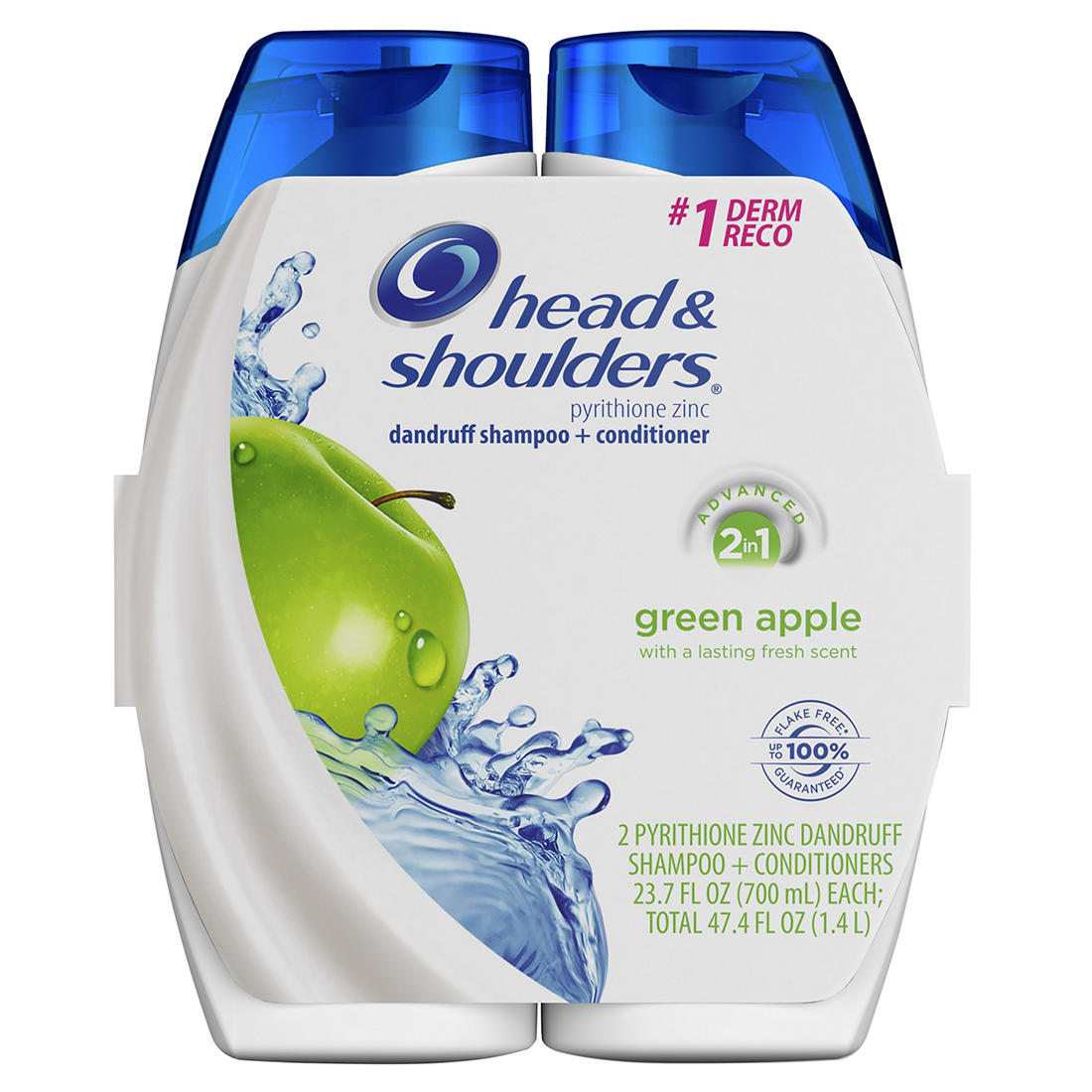 graphic about Head and Shoulders Printable Coupons named Brain Shoulders Inexperienced Apple 2-within just-1 Shampoo + Conditioner, 2 ct./23.7 oz.