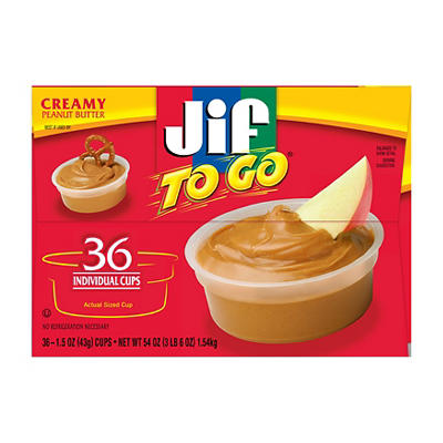 Jif Creamy Peanut Butter To Go, 36 ct.