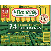 Nathan's Famous Skinless Beef Franks, 3 lbs.
