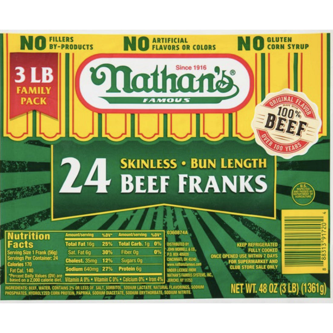 photo about Nathans Printable Coupons identify Nathans Well-known Skinless Beef Franks, 3 pounds.