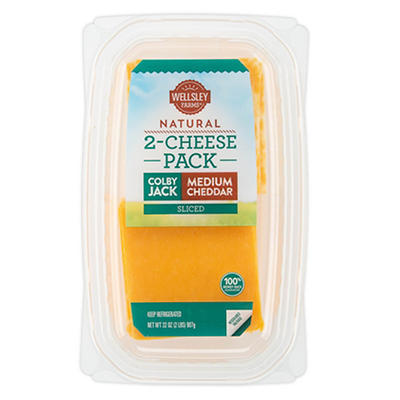 Wellsley Farms Sliced Medium Cheddar and Colby Jack Cheese, 32 oz.