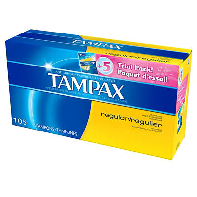 Tampax Cardboard Applicator Tampons, 100 ct. Plus Pearl Tampons, 5 ct.