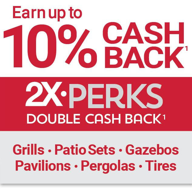 Double Cash Back on grills, patio sets, pavillions, pergolas and tires