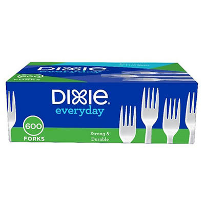 Dixie Plastic Medium-Weight Forks, 600 per Carton - White