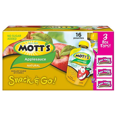 Mott's Natural Apple Sauce Snack & Go Pouches, 16 pk./3.2 oz.