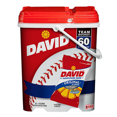 David Sunflower Seeds In Shell Team Bucket, 60 ct./1.75 oz.