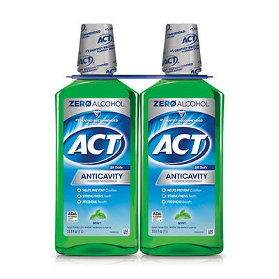ACT Total Care Fresh Mint Anticavity Fluoride Mouthwash, 2 ct./33.8 oz