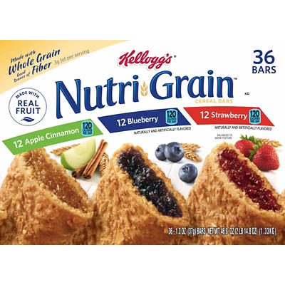 Kellogg's Nutri Grain Cereal Bars Variety Pack, 36 ct.