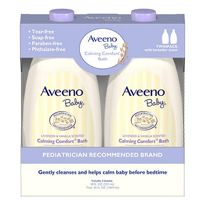 Aveeno Baby Calming Comfort Lavender and Vanilla Tear-Free Bath Wash,