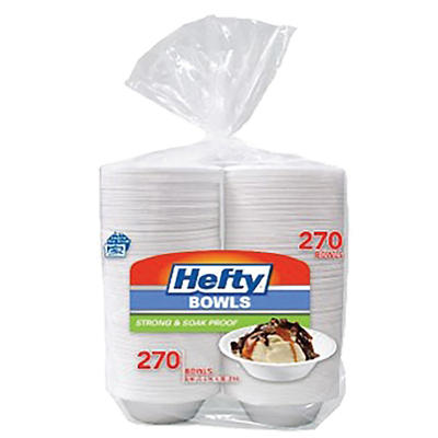 Hefty 12-Oz. Strong and Soak-Proof Heavy-Duty Bowls, 270 ct. - White