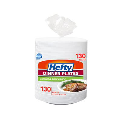 "Hefty Strong & Soak-Proof Heavy-Duty 10.25"" Plates, 130 pk. - White"