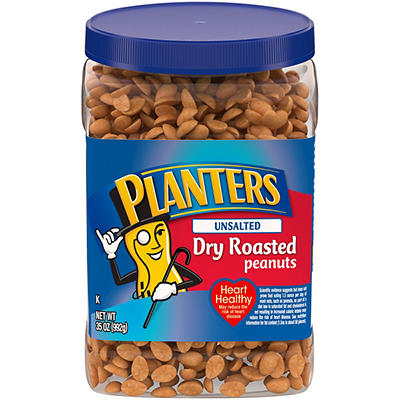Planters Unsalted Dry Roasted Peanuts, 35 oz.