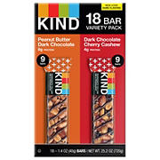 KIND Healthy Snacks Peanut Butter Dark Chocolate & Dark Chocolate Cherry Cashew Bar Variety Pack, 18 pk.