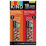 KIND Healthy Snacks Peanut Butter Dark Chocolate & Dark Chocolate Cherry Cashew Bar Variety Pack, 18 pk.