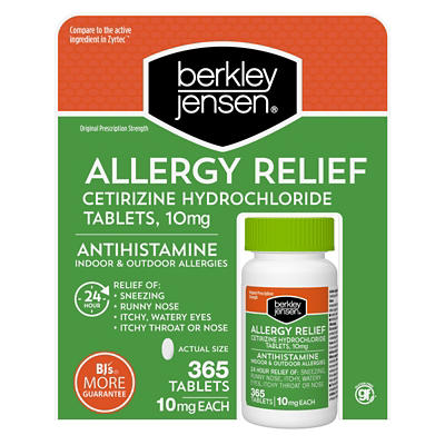 image about Zyrtec Coupon Printable titled Berkley Jensen Allergy Aid 10mg Cetirizine Hydrochloride