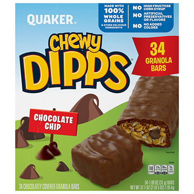 Quaker Chewy Dipps Chocolate Chip Granola Bars, 34 pk./1.09 oz.