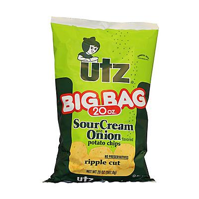 Utz Big Bag Sour Cream and Onion Ripple Potato Chips, 20 oz.