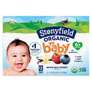 Stonyfield Organic Yobaby Vanilla, Blueberry & Apple Yogurt Variety Pack, 12 pk./4 oz.