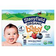 Stonyfield Organic Yobaby Vanilla, Blueberry & Apple Yogurt Variety Pack, 12 pk./4 oz.