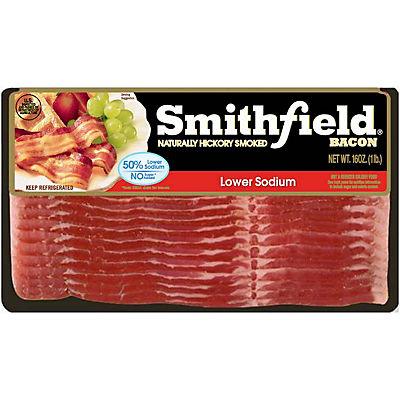 Smithfield Low Sodium Bacon, Naturally Hickory Smoked, 3 pk./16 oz.
