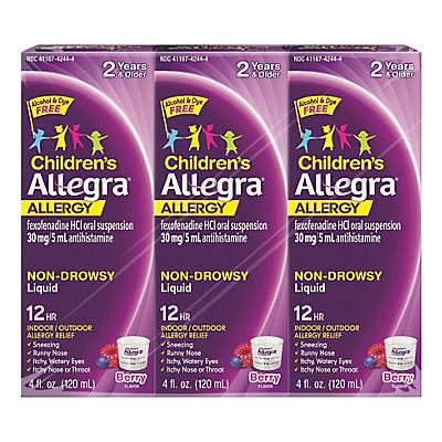 Allegra Children's 12-Hour Allergy Relief Liquid, 3 ct./4 oz.