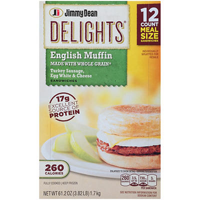 Jimmy Dean Delights Frozen Turkey Sausage, Egg White & Cheese English