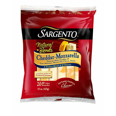 Sargento Natural Blends Cheddar-Mozzarella Cheese Snacks, 20 ct.