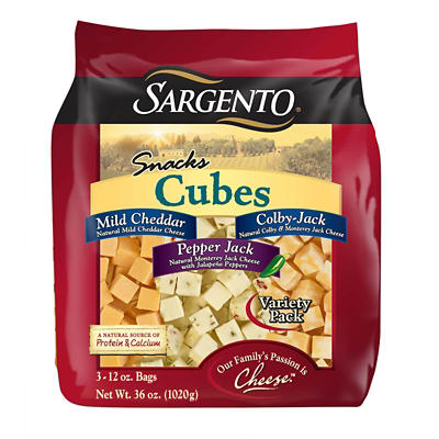 Sargento Natural Cheese Cubes Variety Pack, 3 pk./12 oz.